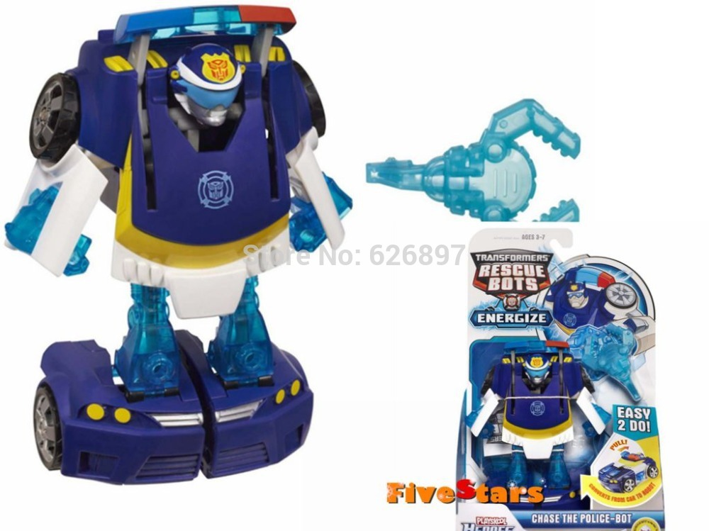 Original Playskool Heroes Rescue Bots Energize Chase the Police Bot Car Transformation Brand Birthday Gifts Kids Boys Toys(China (Mainland))