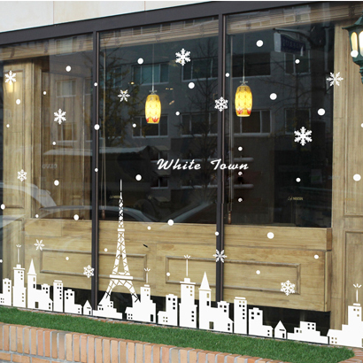 White Tower Christmas Coffee Window Sticker Glass Wall Decoration Stickers WS046 - Online Store 934412 store