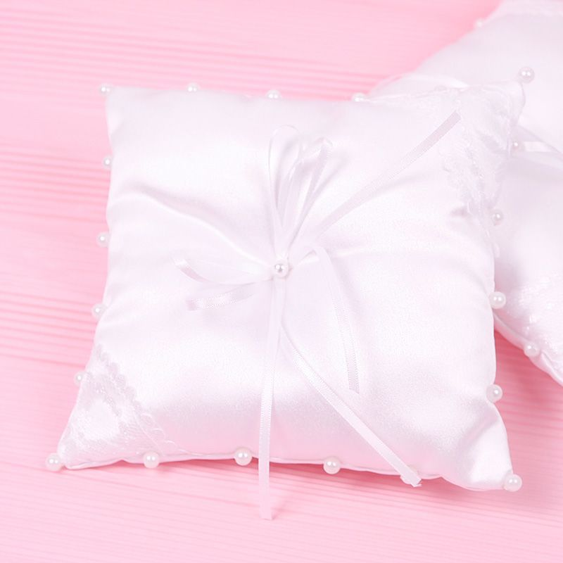 Trendy Small Satin Bowknot Wedding Party Pocket Ring Pillow Pearl Cushion Ivory Decoration casamento#55079(China (Mainland))