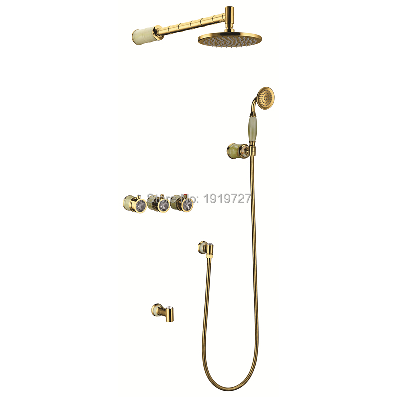 2016 Newly High Quality 100% Brass Luxury Classic Marble Bath Rose Or Gold Or Chrome In Wall Mounted Bathroom Shower Faucet Set(China (Mainland))