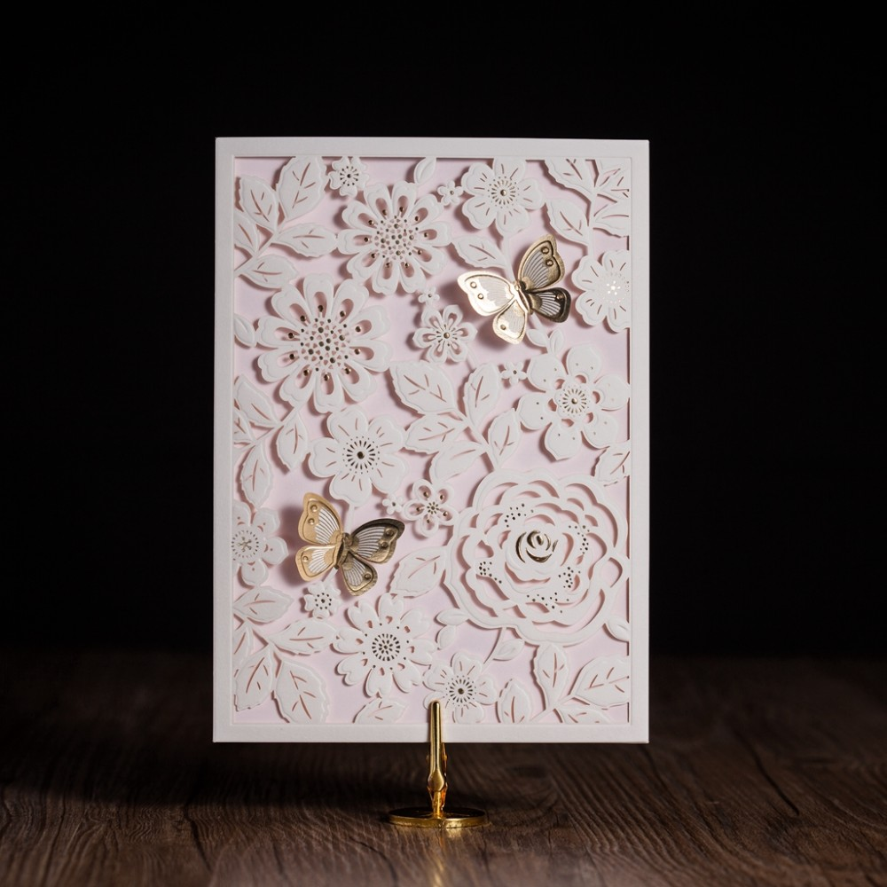 100pcs pop up laser cut wedding invitation card with gold for 3d printer wedding invitations