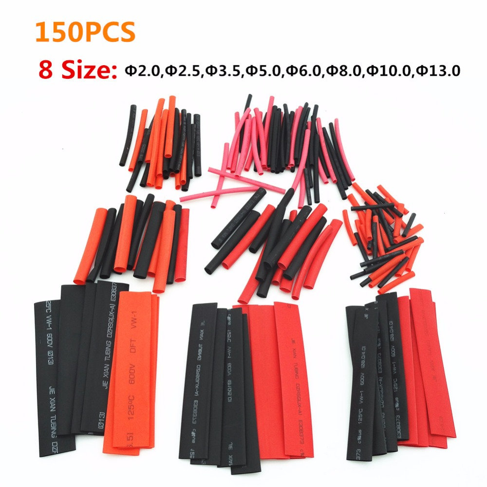 Black Red Heat Shrinkable Tube 8 sizes Polyolefin Shrink Tubing Wire 150pcs/bag Cable Heat Shrinkable Kit ZK54(China (Mainland))