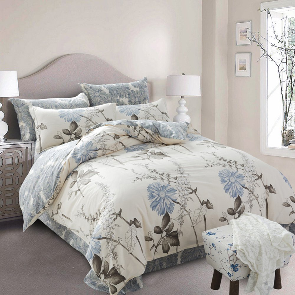 2016 New Arrival Unadorned Flower 4 Piece Bedding Set Bed Sheet Bed Cover Pillow Cover Soft and Coverlet Set,Comforter Cover Set(China (Mainland))