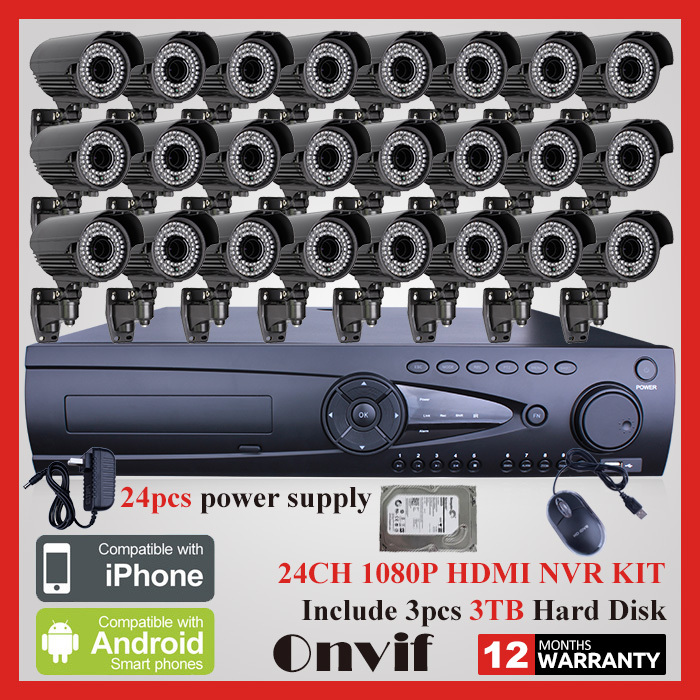 9TB HDD Onvif 24CH H.264 NVR Security CCTV System 1080P 2MP Zoom 2.8-12mm Lens 78IR Outdoor Video Surveillance Network IP Camera(China (Mainland))