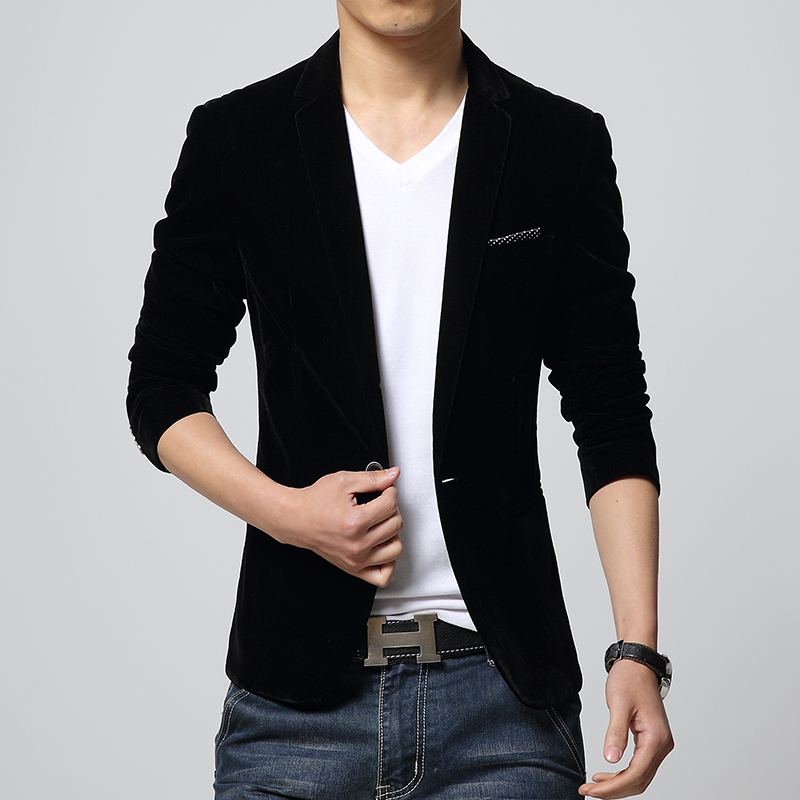 Mens Blazer Slim Fit Suit Jacket Black Navy Blue Velvet 2015 Spring Autumn Outwear Coat Free ...