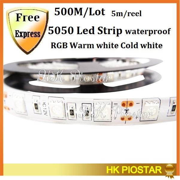 500M/Lot waterproof DC12V 5050 SMD 5M/Reel 60LEDs/M LED Strip light Red Green Blue Yellow White/RGB LED flexible Strip Ribbon(China (Mainland))