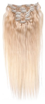 "16"" -  26"" 100g #60 Platinum blonde Full Head Remy Hair Clip In Human Hair Extensions 8Pcs/ Set"