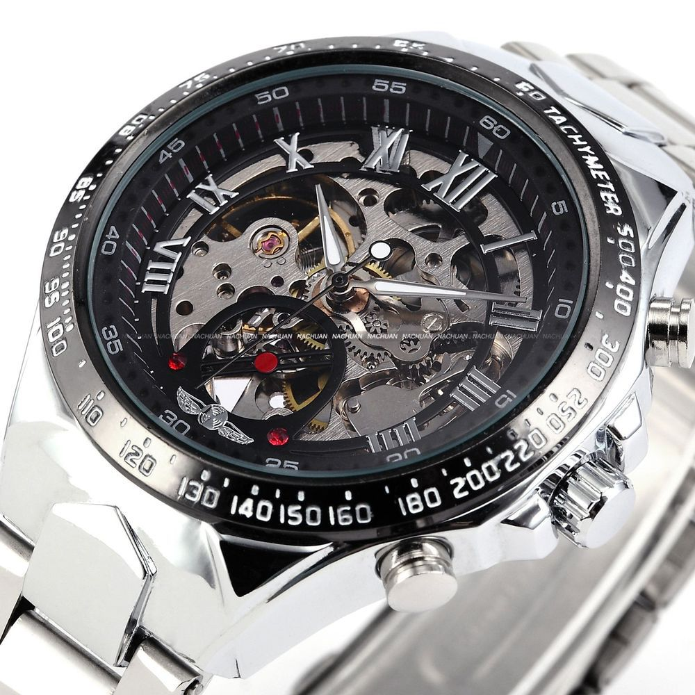 2015 new fashion steel men male clock winner brand stylish design classic mechanical self wind wrist dress skeleton watch gift