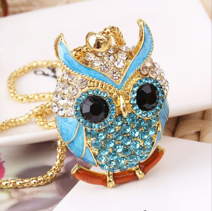 New Brand Charms Women 18K Gold Necklace Vintage Crystal Cubic Zircon Diamond Owl Necklaces Pendants Fine