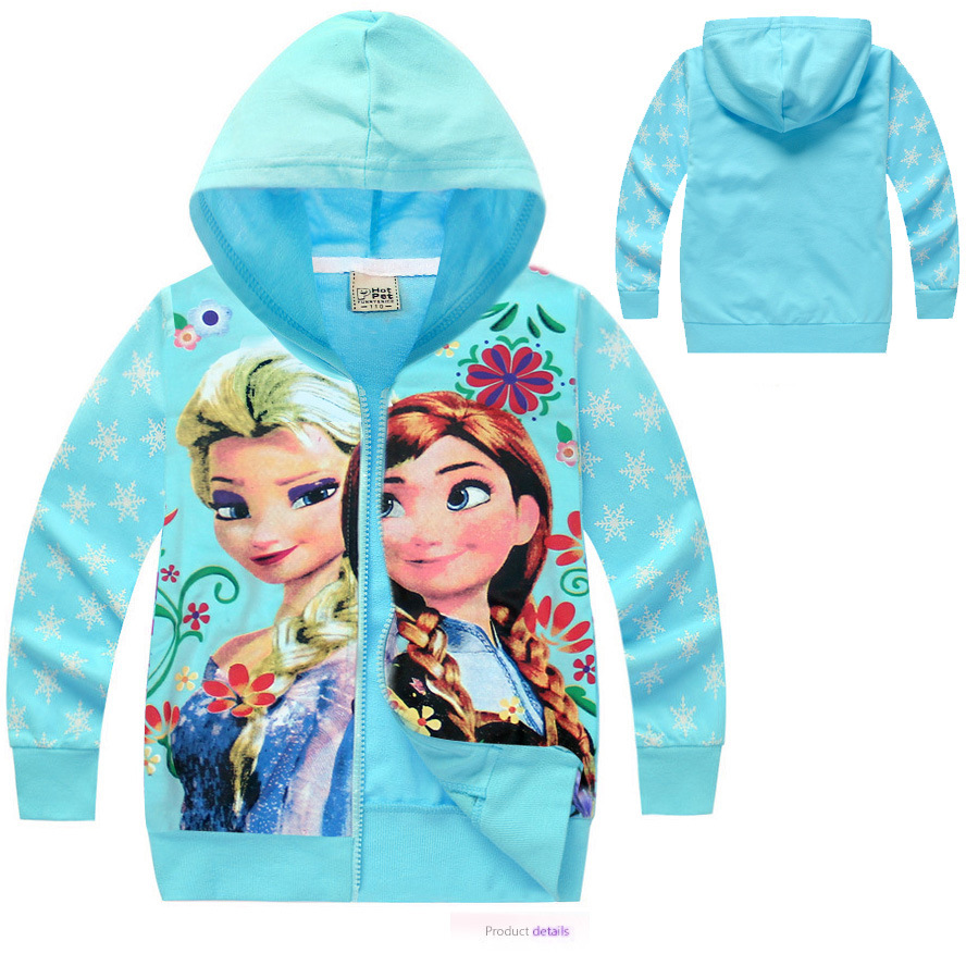 1pcs girls children hoodies Elsa and Anna cotton long sleeve tops cartoon sweatshirts clothing baby kids hoody(China (Mainland))