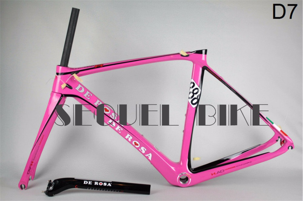 New sale 2014 De Rosa 888 pink carbon road frame bicycle frame road bike carbon racing bicycles carbon frame t800 BB68(China (Mainland))
