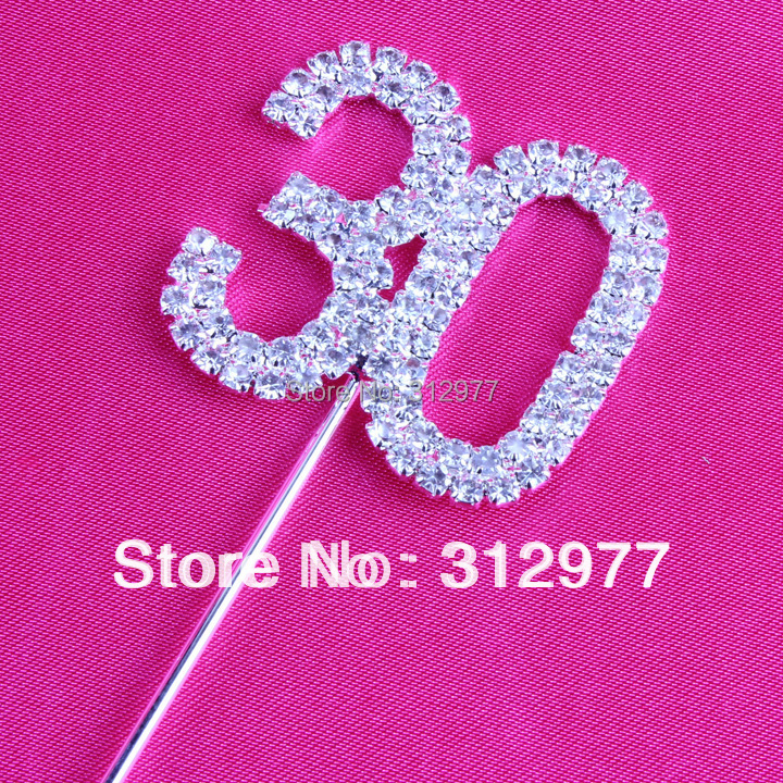Free Shipping Wholesale Sparkle Crystal Cake Topper 50pcs/Lots For Birthday/Anniversary/Party Cake decoration cake top number(China (Mainland))