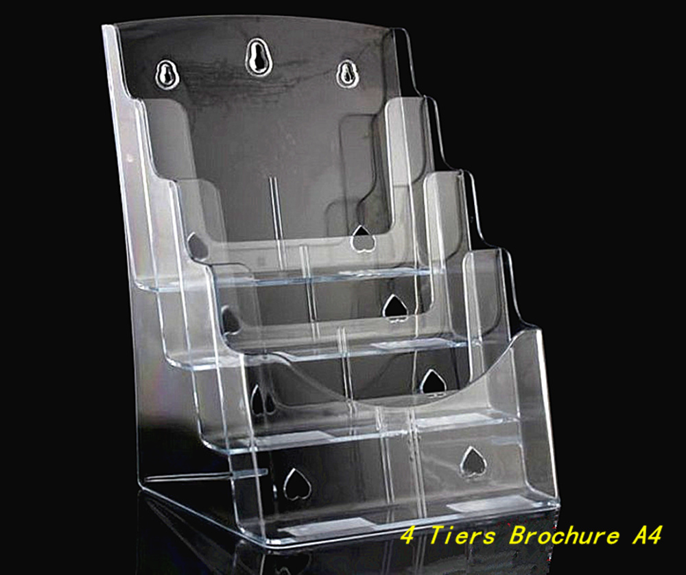 By express clear a4 4 tiers plastic acrylic brochure for Plastic flyer stand