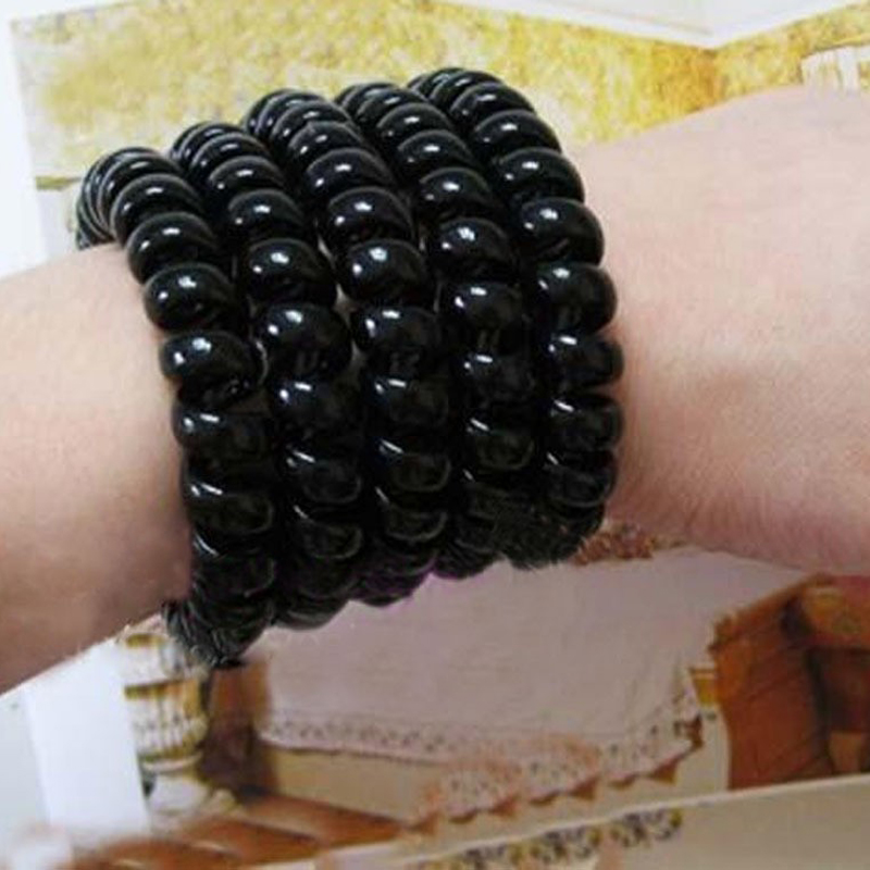 10pcs Women Ladies Girls New Black Elastic Rubber Telephone Wire Style Hair Ties Plastic Rope Hair Accessories Braid Hair Care(China (Mainland))