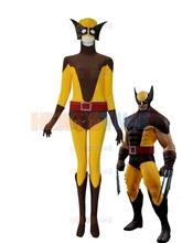 2015 newest X-men costume halloween cosplay Yellow & Brown spandex X-men Superhero Costume the most classic