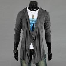 Men Comfortable Stylish Irregular Solid Hooded Good Selling Single Button Outwear Coat Black/Dark Gray M/L/XL/XXL(China (Mainland))