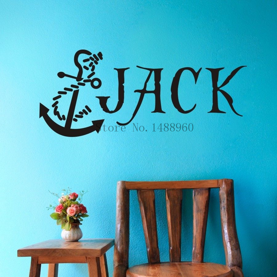 Wall Art Stickers Custom : Aliexpress buy e anchor nautical pirate custom