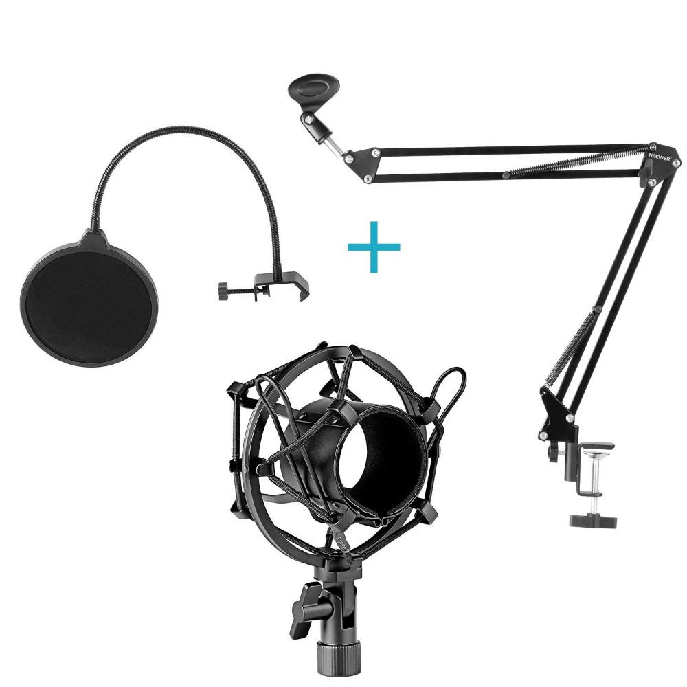 ถูก N eewer NB-35ไมโครโฟนขาแขนขากรรไกรคลิปไมค์ผู้ถือและโต๊ะติดตั้งหนีบและNWกรองกระจกโล่และโลหะm ount Kit