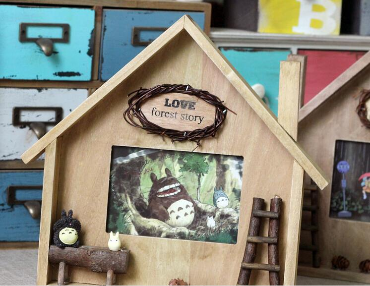 Small wooden house Chinchilla frame desktop display frame hanging wall decoration student gift JH044(China (Mainland))