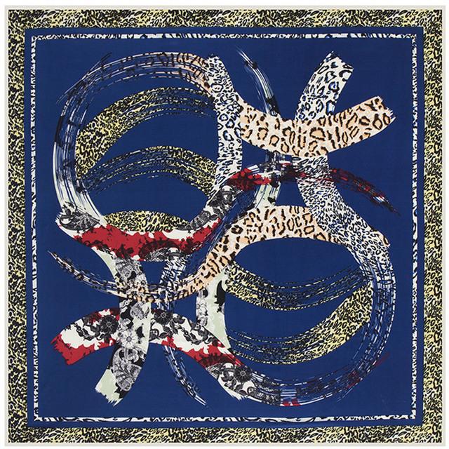 100 см * 100 см саржевые шелковый женщины 100% шелковая геометрический круг леопарда высокое качество шарф мусульманский хиджаб B117