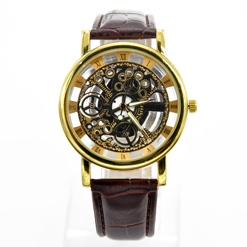 Fashion High Quality Men Hollow Out PU Leather Strap Watches Men Casual Wristwatch Quartz Watch relogio