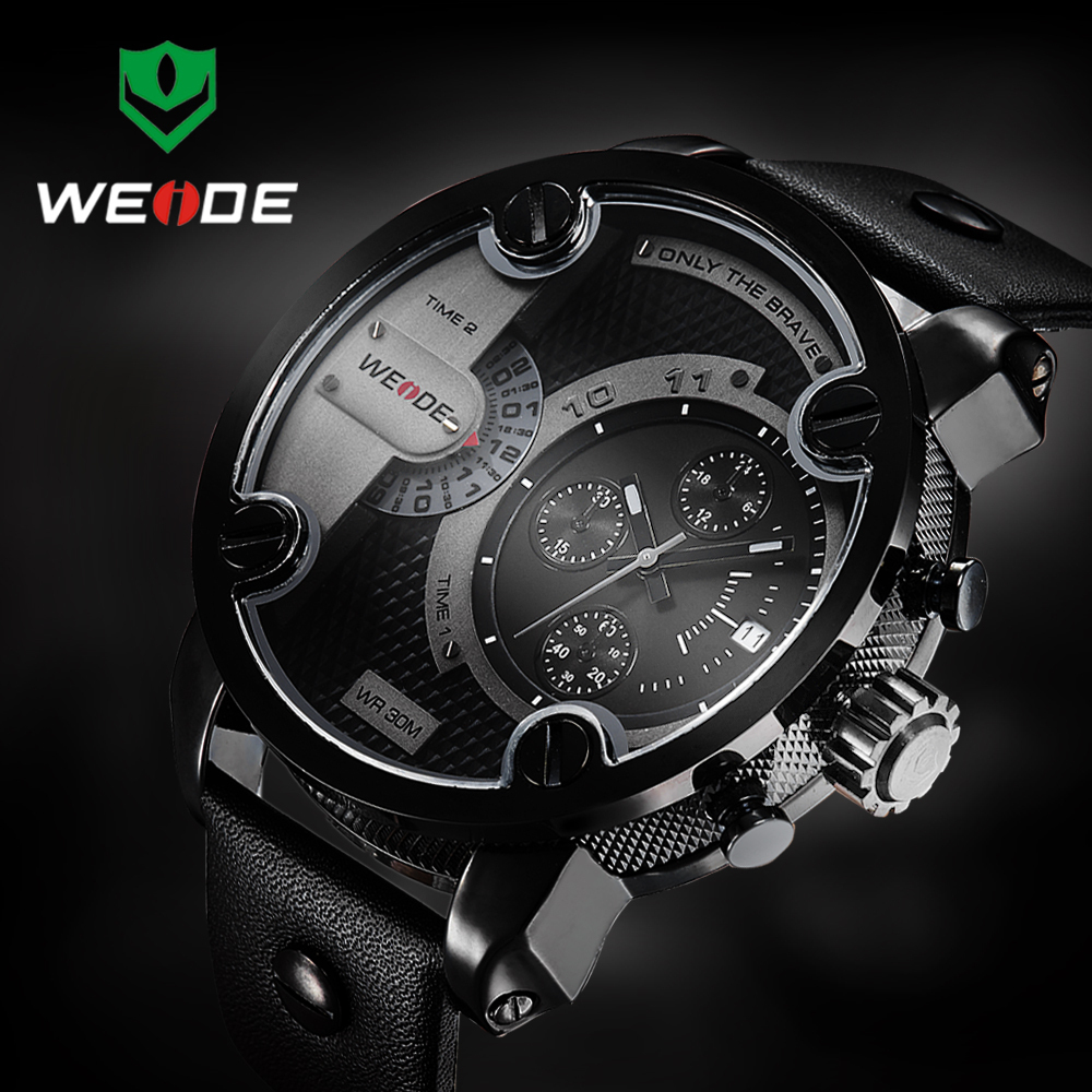 WEIDE Watches Men Luxury Brand Famous New With Tag Black Original Design Genuine Leather Strap Two Time Zones Big Screen Display(China (Mainland))