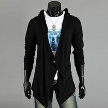 Men Comfortable Stylish Irregular Solid Hooded Good Selling Outwear Coat Black/Dark Gray M/L/XL/XXL(China (Mainland))