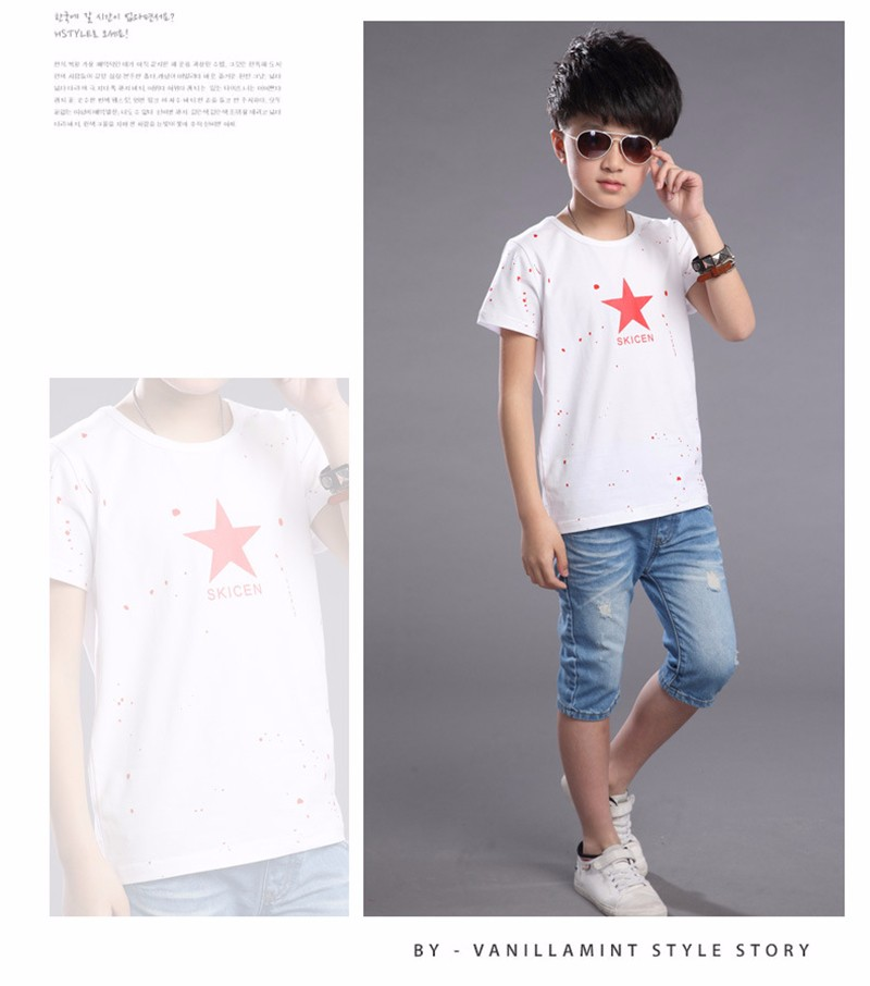 2016 Summer Casual T Shirt Children T Shirts Star Kids Clothes Tshirts Boys Cotton Short Sleeve Black Red Soft Thin Tee Shirt