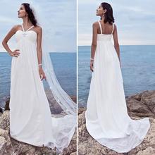 PB28 Simple White Chiffon Beach Wedding Dress 2016 Beaded Pleat Halter Empire Women Beach Wedding Dresses With 3 meter Veil(China (Mainland))