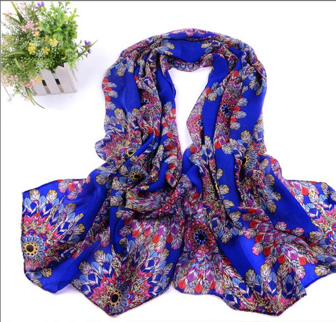 1PC 2016 Hot Sale Peacock Feather Scarfs Print Woman scarf long Chiffon Silk Burnt-out Floral Scarves Wrap R5A16037(China (Mainland))