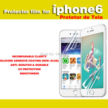 100 Pieces screen protector film for iphone 6 4.7 lcd clear Protective Glossy Transparent HD thin Film free shipping