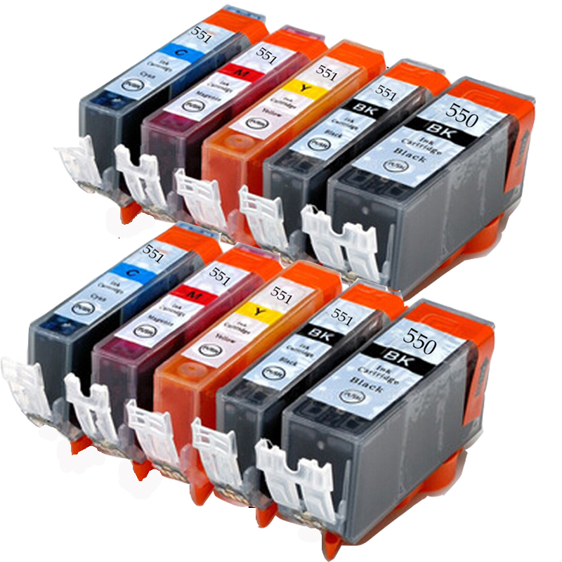 10PK For PGI-550 CLI-551 Compatible Ink Cartridg for Canon PIXMA MG5460/MG6360/Ip7260<br><br>Aliexpress
