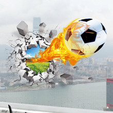 Soccer broke wall creative stickers Football sport 3d vinyl decals kids room decoration club school adesivo poster free shipping(China (Mainland))