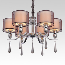 Modern Brief Jane Europe Style Fabric Crystal Chandeliers Diameter 70cm 6 Arms  E27 Socket Modern Chandelier(China (Mainland))