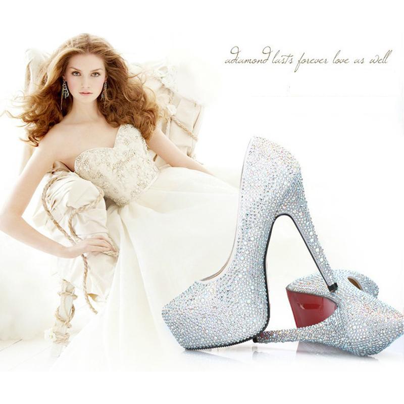 Aliexpress.com : Buy 14cm Crystal Pump Silver Rhinestone Red ...