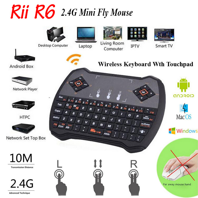 Free DHL Mini 2.4G Rii R6 Wireless Game Keyboard Fly Air Mouse Remote Control with Touchpad for PC Pad Google Andriod TV Box i8<br><br>Aliexpress