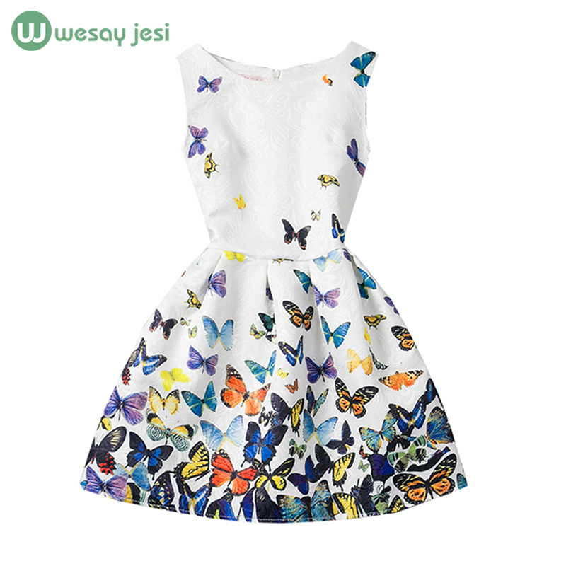 6-12Y Summer style girl dress Sleeveless princess Flower Print girls clothing infant baby kids clothes party - WESAY JESI W Co. Ltd. Store store