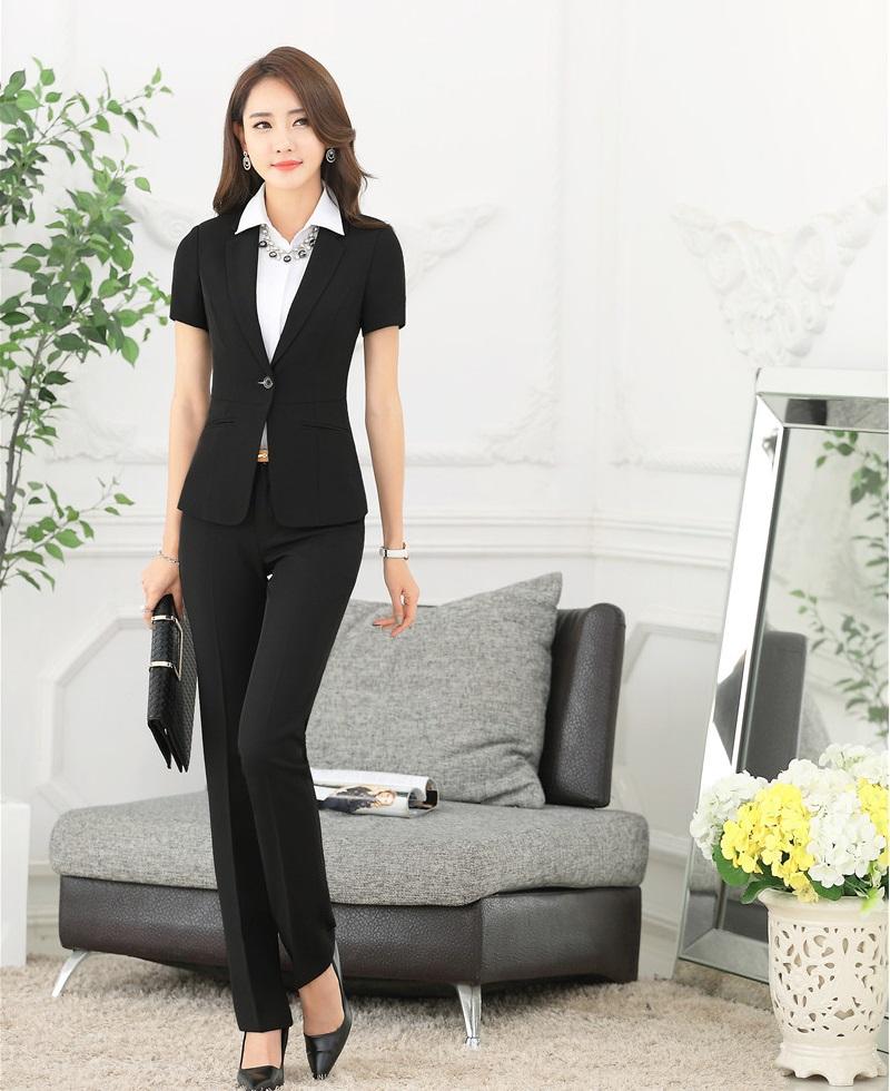 Summer Formal Black Blazer Women Pant Suits Work Wear Sets Ladies Business Suits Elegant Office Uniform Styles OL(China (Mainland))