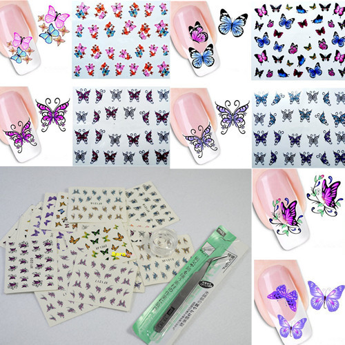 30Sheets + 1pcs Tweezers Curved +3g Jar Nail Art Water Stickers Decals Beauty Nails Butterfly Wraps Tattoos Watermark(China (Mainland))