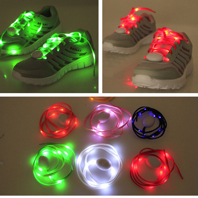 Гаджет  2015 New LED Lighting Nylon Shoelace 114cm Length for Dancing/Running/Play, Colorful/Safe/High Quality WITHOUT Lithium battery None Обувь