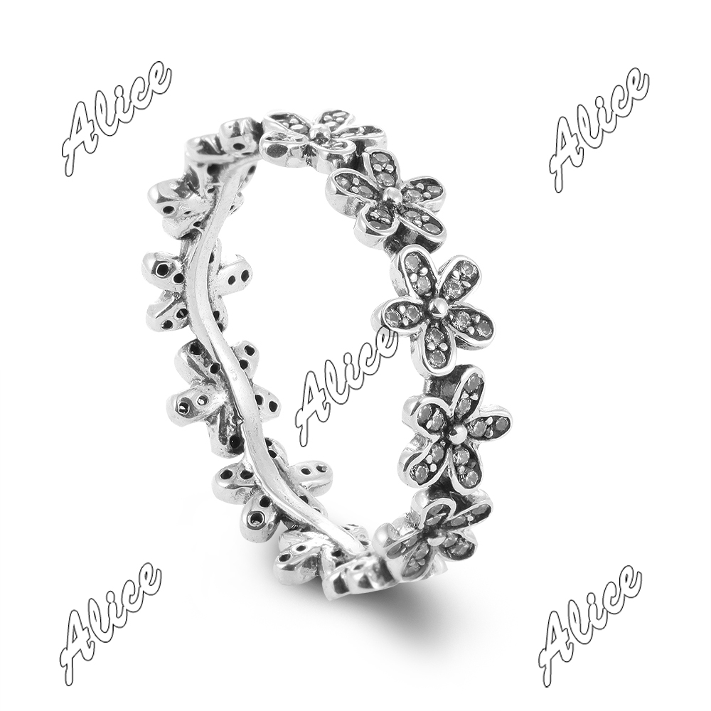 925 Sterling Silver Ring Authentic European Brand Fashion Jewelry Daisy Silver Ring with Clear CZ(China (Mainland))