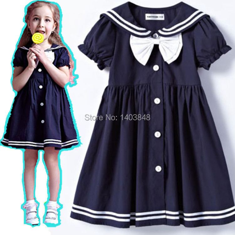 Girls dresses 2 9age navy bow girl dress christmas baby clothing