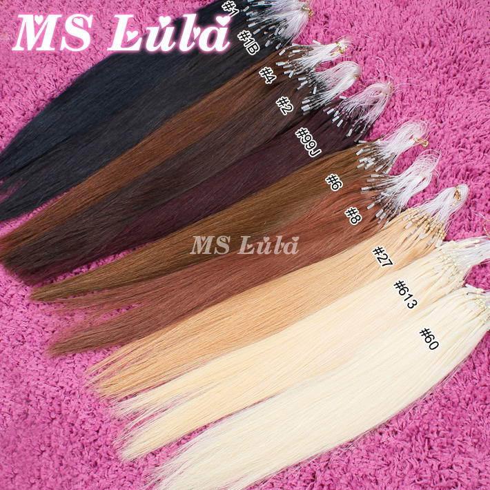 High quality 100% human hair extensioins prebonded hair micro loop hair extension Straight 0.6g/s 100 strings/set ms lula hair