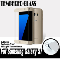0.26MM 2.5D New Screen Printing Toughened Glass For Samsung Galaxy S7 G9300 Curved Surface Full Cover Tempered Glass Film