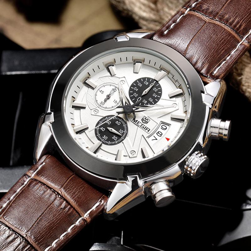 2016 new fashion MEGIR brand design chronograph men male army clock sport leather luxury wrist business watch best gift 2020(China (Mainland))