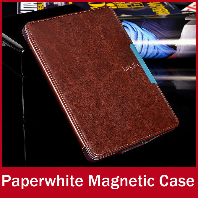 2015 Luxury Crazy Horse Leather New Kindle Paperwhite Case Magnet Smart Cover For Amazon New KP With Sleep and Wake Up Function(China (Mainland))