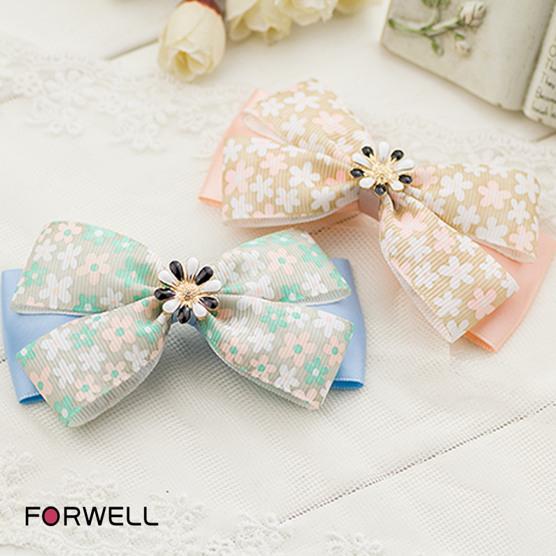 Hot sale women girls hair clip hair accessories handmade floral printed bow knot hairpins spring clip headdress flower jewelry(China (Mainland))