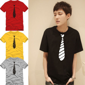 Korean Tie Printed Mens Men T Shirt Tshirt Fashion 2015 New Short Sleeve O Neck Cotton T-shirt Tee(China (Mainland))
