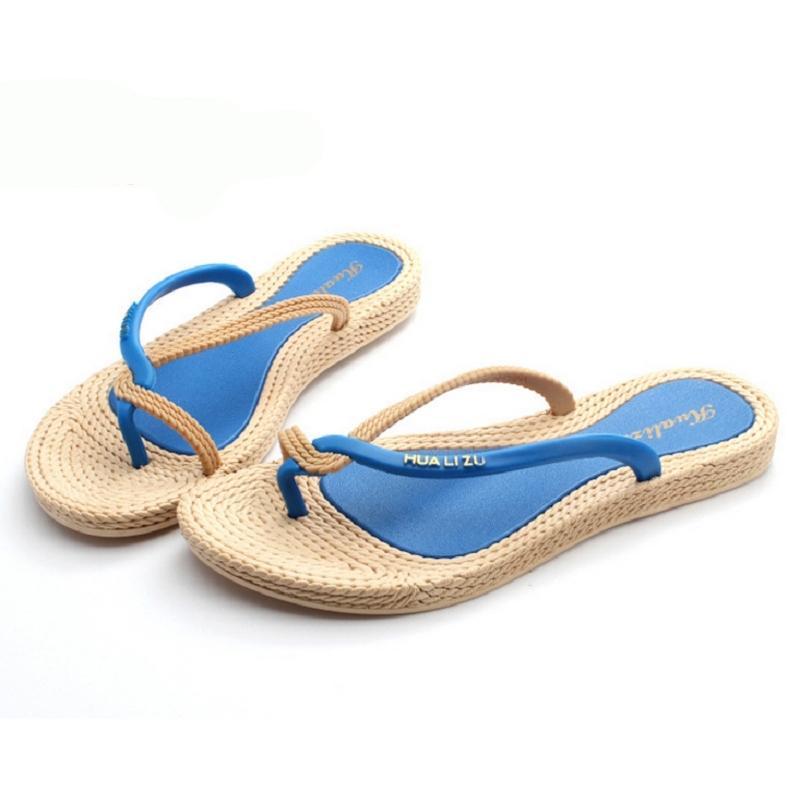 Гаджет  2015 Womens Summer Bohemia Flat Flip-Flops Thongs Slippers Rattan Grass Sandals  #71051  None Обувь