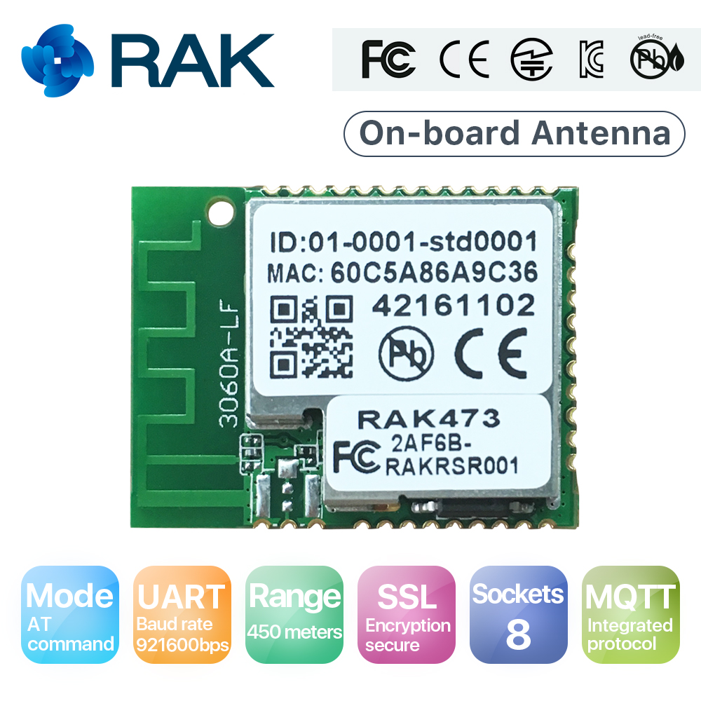 RAK473 (MA) on board antenna|IoT UART WiFi module|AP+STA mode|low power, easyconfig|AT command|Enterprise security|450 meters(China (Mainland))